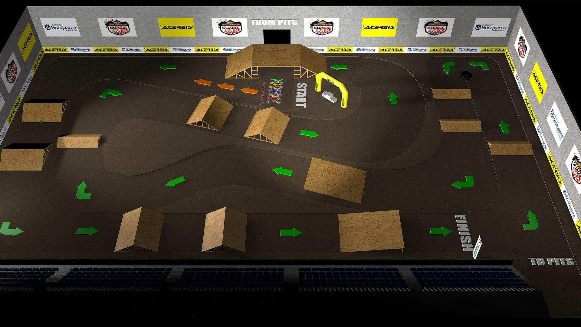 Motorcycle Track 3D Render